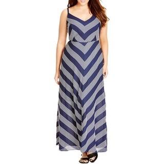 City Chic Womens Plus Maxi Dress Striped V-Neck