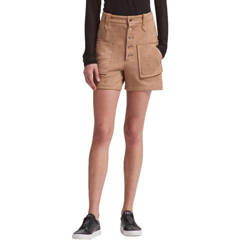 DKNY Womens Casual Shorts Faux Suede High Waist