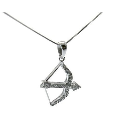 925 Sterling Silver Bow and Arrow Pendant with Cubic Zirconia and Italian Made 925 Sterling Silver Box Chain