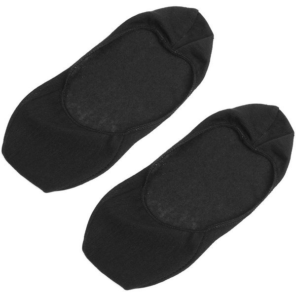 Unique Bargains Pair Black Low Cut Elastic Flower Brim Cuff Boat Socks for Women