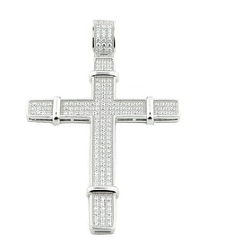 Silver Cross With CZ Pave Set Cubic Zircons 66mm Tall Cross Pendant Mens By MidwestJewellery