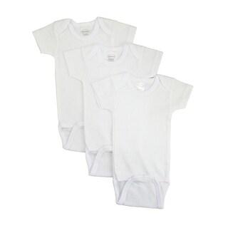 Bambini Baby Rib Knit White 100% Cotton Short Sleeve Onesie 3-Pack