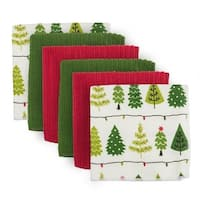 """Pack of 6 Green, Red, and White with Christmas Trees Dishcloths 12"""" - Green"""