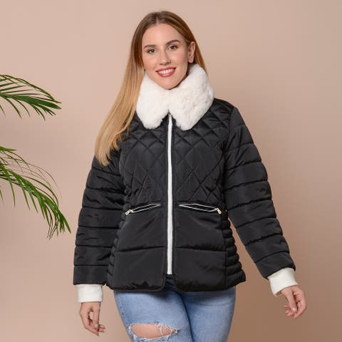 Shop LC PASSAGE Black with White Faux Collar Puffer Coat M Polyester