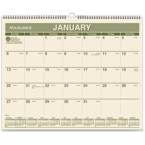At A Glance AAGPMG7728 15 x 12 in. Recycled Wall Calendars