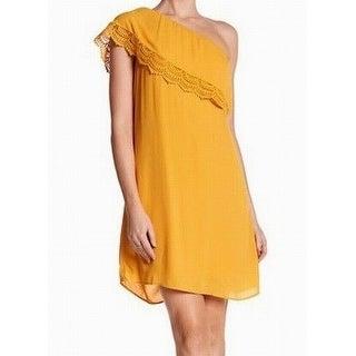 DR2 Womens Medium Lace-Trim One-Shoulder Shift Dress