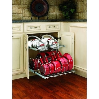 Rev-A-Shelf 5CW2-2122 5CW2 Series 21 Inch Wide Two Tier Pull Out Cookware Organizer for 24 Inch Base Cabinet - N/A