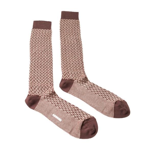 Missoni GM00CMU5240 0001 Brown/Cream Chevron Knee Length Socks - M