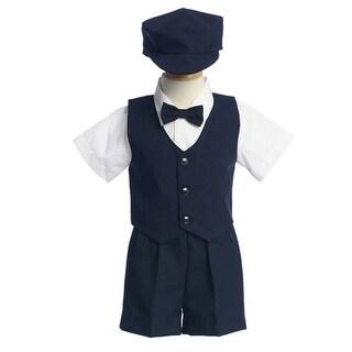 Boys Navy Vest Shorts Easter Ring Bearer Formal Wear Suit 12M-4T