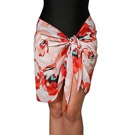Short Red Floral Swimsuit Sarong Cover up with Built in Ties