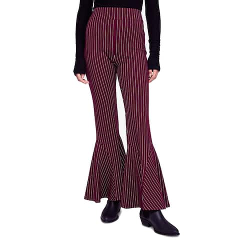 Free People Womens Pants Red Size 10 Dress Flare-Lef Striped Stretch