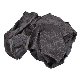 New Gucci 165903 XL Charcoal Grey Wool Silk GG Guccissima Logo Scarf Shawl Wrap