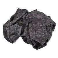 Gucci 165903 XL Charcoal Grey Wool Silk GG Guccissima Logo Scarf Shawl Wrap