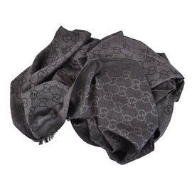 Gucci 165903 XL Charcoal Grey Wool Silk GG Guccissima Logo Scarf Shawl Wrap