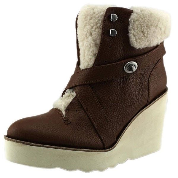 Coach Kenna Women Round Toe Leather Brown Ankle Boot