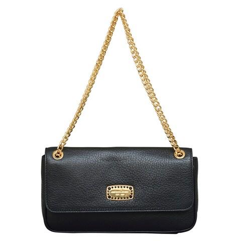 Michael Kors Small Jet Set Jewel Black Leather Shoulder Flap Handbag