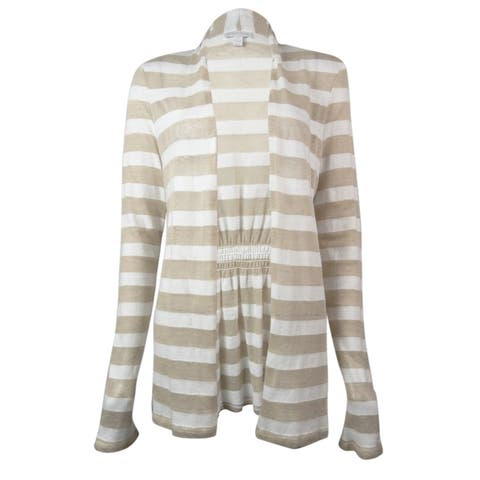 Charter Club Women's Striped Long Sleeve Cardigan Top - Sand Combo - S