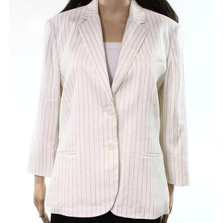 Lauren by Ralph Lauren White Women's 12 Linen Blend Striped Blazer