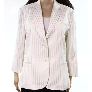 Lauren by Ralph Lauren NEW White Womens Size 10 Pinstriped Blazer