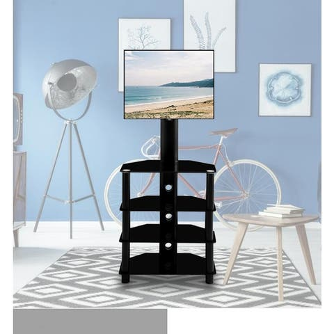 Swivel Floor TV Stand with Mount, 4 Tier Corner TV Entertainment Center Height and Angle Adjustable for Most up to 55 inch