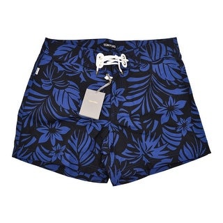 Tom Ford Men's Blue Floral Print Swim Trunks - 32