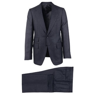 Tom Ford Charcoal Black Wool Blend Mouline Button Front Two Piece Suit - 38 r