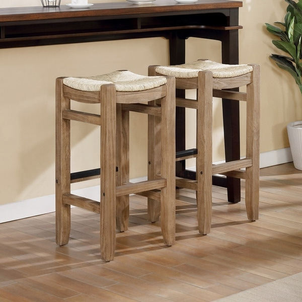 The Gray Barn Enchanted Acre 30-inch Wood Bar Stools with Rush Seats (Set of 2). Opens flyout.