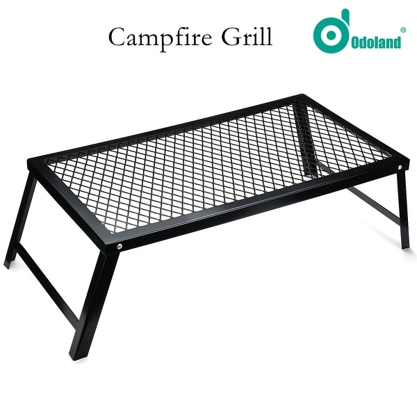 Odoland Over Fire Camp Grill Heavy Duty Stainless Steel BBQ Over Open Campfire Grill for Outdoor