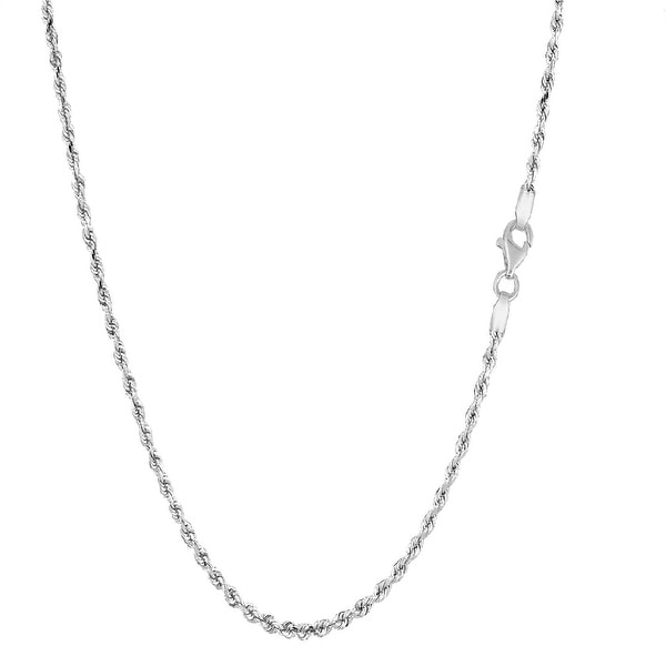 Mcs Jewelry Inc Sterling Silver White 925 Diamond Cut Rope Chain Necklace (1.25mm)