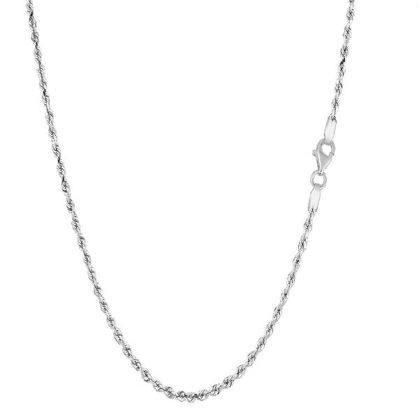 Mcs Jewelry Inc  Sterling Silver White 925 Diamond Cut Rope Chain Necklace (1.4mm)