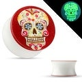 Sugar Skull Print Glow in the Dark Double Flared Acrylic Saddle Plug (Sold Individually) - Thumbnail 0