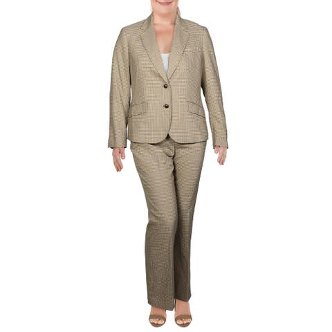 Anne Klein Womens Pant Suit Check Print Business - Sahara Combo