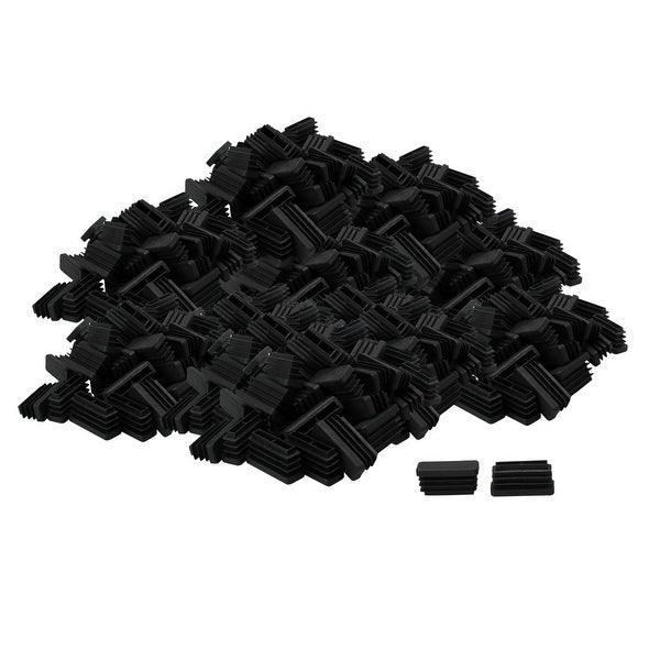 150pcs 13 x 38mm Plastic Rectangle Ribbed Tube Inserts End Cover Cap Furniture Floor Protector