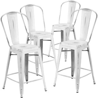 """Link to 4 Pack 24"""" High Distressed Metal Indoor-Outdoor Counter Height Stool - Back Similar Items in Dining Room & Bar Furniture"""
