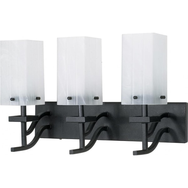 """Nuvo Lighting 60/006 Cubica 3 Light 19.6"""" Wide Vanity Light with Square Alabaster Glass Shades - Textured Black"""