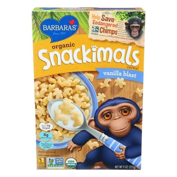 Barbara's Bakery Organic Snackimals Cereal - Vanilla - Case of 12 - 9 oz.