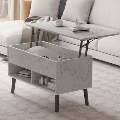 """Kerrogee 31 Inch Lift Top Coffee Table - Hidden Storage and Open Units - 3 Colors - 31.4"""" x 17.3"""""""