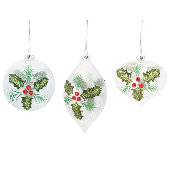 "Pack of 12 Crackle Finish Holly Leaf Glass Ball, Drop, and Onion Ornaments 4""-6""H - RED"