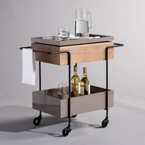 """SAFAVIEH Couture Scout Tray Bar Cart with Wheels - 28.6"""" W x 15.4"""" L x 26.6"""" H"""