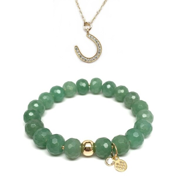 "Green Aventurine 7"" Bracelet & CZ Horseshoe Gold Charm Necklace Set"