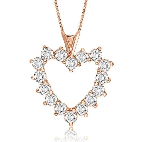 2.50 cttw. 14K Rose Gold Round Cut Big Diamond Heart Pendant