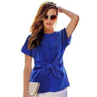 Women Summer Blue Chiffon Shirt Short Sleeves Bottoming Shirt Girls O-neck Blouses Tops With Bowknot