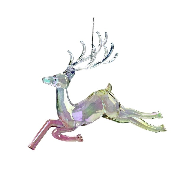 "5.25"" Clear Iridescent Rainbow Finish Prancing Reindeer Christmas Ornament"