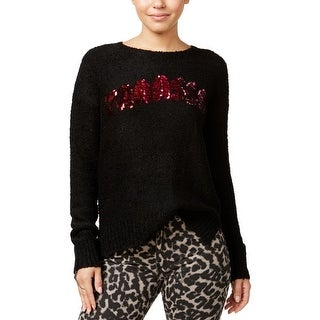 Oh MG! Womens Juniors Pullover Sweater Sequined Slogan