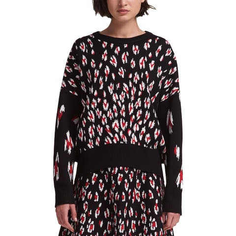 DKNY Womens Pullover Sweater Printed Crew Neck