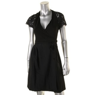 Diane Von Furstenberg Womens Wrap Lace Inlet Cocktail Dress - 4
