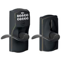 Schlage FE595-CAM-ACC-RF Camelot Keypad Entry with Flex-Lock Door Lever Set with Accent Interior Lever- Manufacturer Refurbished