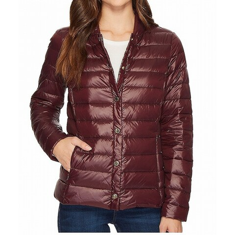 Via Spiga Purple Womens Size Small S Snap-Front Quilted Jacket
