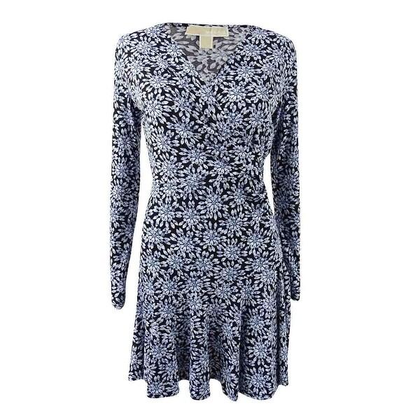 788fa346d97a5 Shop MICHAEL Michael Kors Women's Petite Printed Wrap Dress (PXS,  Cloud/Black) - Cloud/Black - PXS - Free Shipping Today - Overstock -  24089272