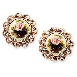 Rosetone Floral Decal Oval Post Earrings